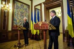 Petro Poroshenko i Christine Lagarde Fotografia Royalty Free