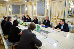 Petro Poroshenko i Christine Lagarde Zdjęcie Royalty Free