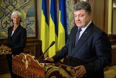 Petro Poroshenko i Christine Lagarde Zdjęcia Stock