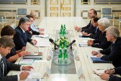 Petro Poroshenko i Christine Lagarde Obrazy Royalty Free