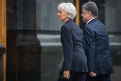 Petro Poroshenko i Christine Lagarde Zdjęcia Royalty Free
