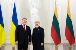 Petro Poroshenko i Dalia Grybauskaite Obraz Royalty Free