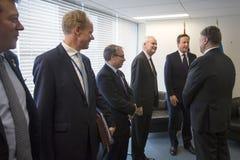 Petro Poroshenko i David Cameron w Nowy Jork Zdjęcie Royalty Free