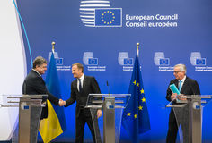 Petro Poroshenko, Jean-Claude Juncker and Donald Tusk Stock Photos