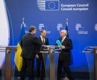 Petro Poroshenko, Jean-Claude Juncker and Donald Tusk Royalty Free Stock Photography