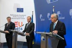 Petro Poroshenko, Jean-Claude Juncker and Donald Tusk Stock Photography