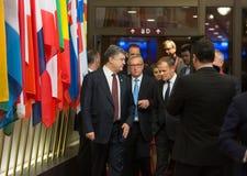 Petro Poroshenko, Jean-Claude Juncker and Donald Tusk Stock Image