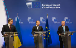 Petro Poroshenko, Jean-Claude Juncker and Donald Tusk Royalty Free Stock Images