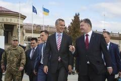 Petro Poroshenko and Jens Stoltenberg Stock Photos