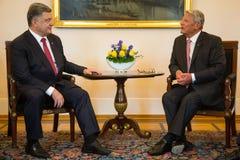 Petro Poroshenko and Joachim Gauck Stock Photos