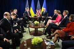 Petro Poroshenko and Joe Biden Stock Photos