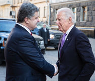 Petro Poroshenko and Joe Biden during their meeting in Kiev Stock Image