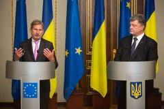 Petro Poroshenko and Johannes Hahn Stock Photo