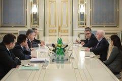Petro Poroshenko and John McCain Stock Photos