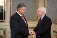 Petro Poroshenko and John McCain Stock Photo