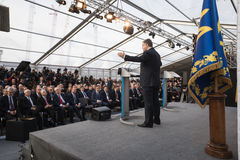 Petro Poroshenko à la centrale nucléaire de Chornobyl Image libre de droits