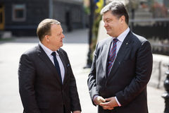 Petro Poroshenko and Lars Lokke Rasmussen Royalty Free Stock Photo