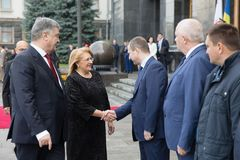 Petro Poroshenko and Maltese President Marie Louise Coleiro Prec Stock Photo