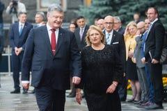 Petro Poroshenko and Maltese President Marie Louise Coleiro Prec Royalty Free Stock Images