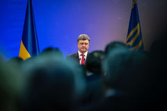 Petro Poroshenko on New Year's reception for the diplomatic head Royalty Free Stock Photos