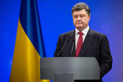 Petro Poroshenko on New Year's reception for the diplomatic head Stock Image