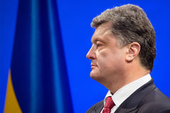 Petro Poroshenko on New Year's reception for the diplomatic head Stock Photography