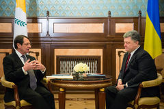 Petro Poroshenko and Nicos Anastasiades. KIEV, UKRAINE - Dec 11, 2015: President of the Republic of Cyprus Nicos Anastasiades during a meeting  with president of Royalty Free Stock Photo