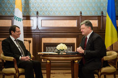 Petro Poroshenko and Nicos Anastasiades. KIEV, UKRAINE - Dec 11, 2015: President of the Republic of Cyprus Nicos Anastasiades during a meeting  with president of Stock Photo
