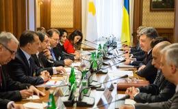 Petro Poroshenko and Nicos Anastasiades. KIEV, UKRAINE - Dec 11, 2015: President of the Republic of Cyprus Nicos Anastasiades during a meeting  with president of Stock Photography
