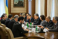 Petro Poroshenko and Nicos Anastasiades. KIEV, UKRAINE - Dec 11, 2015: President of Ukraine Petro Poroshenko and the president of the Republic of Cyprus Nicos Stock Images