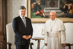 Petro Poroshenko och påve Francis Royaltyfri Fotografi