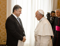 Petro Poroshenko och påve Francis Royaltyfri Bild