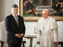 Petro Poroshenko och påve Francis Arkivfoto