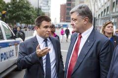 Petro Poroshenko och Pavlo Klimkin i New York Fotografering för Bildbyråer