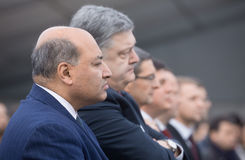 Petro Poroshenko och Suma Chakrabarti Royaltyfri Fotografi