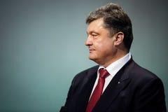 Petro Poroshenko op de ontvangst van het Nieuwjaar voor het diplomatieke hoofd Stock Fotografie