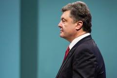 Petro Poroshenko op de ontvangst van het Nieuwjaar voor het diplomatieke hoofd Stock Foto's