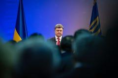 Petro Poroshenko op de ontvangst van het Nieuwjaar voor het diplomatieke hoofd Royalty-vrije Stock Foto's