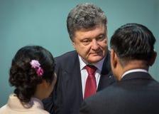 Petro Poroshenko op de ontvangst van het Nieuwjaar voor het diplomatieke hoofd Stock Afbeeldingen