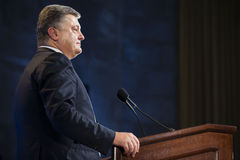 Petro Poroshenko på columbia universitet i New York City Royaltyfria Foton