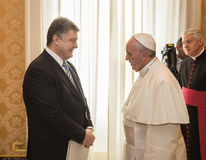 Petro Poroshenko and Pope Francis Royalty Free Stock Images