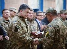 Petro Poroshenko presents awards to servicemen in the Donetsk re Royalty Free Stock Image