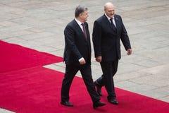 Petro Poroshenko and President of Belarus Alexander Lukashenko Stock Image