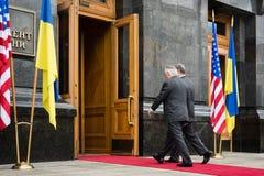 Petro Poroshenko and Rex Tillerson Stock Photos