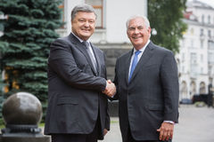 Petro Poroshenko and Rex Tillerson Royalty Free Stock Photo