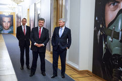 Petro Poroshenko and Stephen Harper Stock Photos