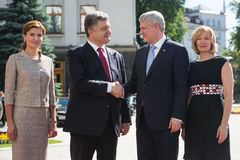 Petro Poroshenko and Stephen Harper with wives Royalty Free Stock Photography