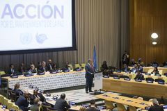 Petro Poroshenko at the 73th session of the UN royalty free stock images