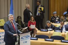 Petro Poroshenko at the 73th session of the UN royalty free stock photo