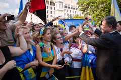 Petro Poroshenko with Ukrainian community in Washington Stock Photos